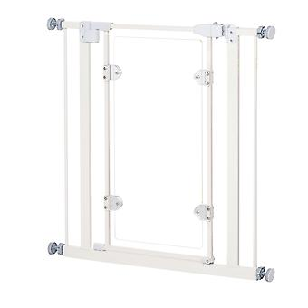 PawHut Pet Safety Gate Auto Close Barrier Acrylic Door Metal Frame Home Doorway Corridors Room Divider Stair Guard 76.2 - 81.9cm