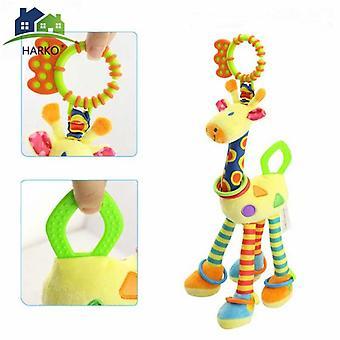Soft Giraffe Animal Handbells Rattles Plush Infant Baby Development