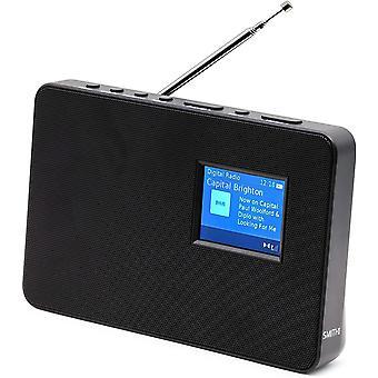 "Smith-Style Metal DAB+ FM DAB Digital Radio Portable Radio with Grill Panel, Clock & 2.8"" Colour"