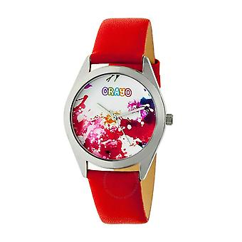 Crayo Graffiti Dial Red Leather Watch CRACR4002