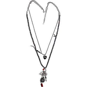 Sich verhalten Lange Silber farbige Halskette mit grauem Halbedelsteine ?? Perlen - Herz anhnger mit grauem