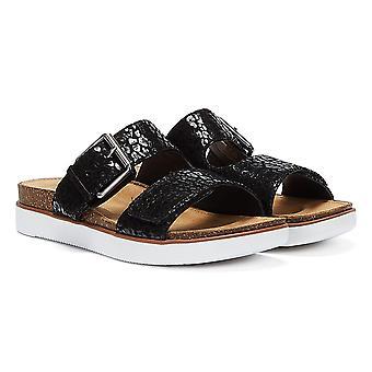 Clarks Elayne Ease Nubuck Womens Black Sandals