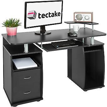 tectake skrivebord med tastetrykk hylle 115x55x87cm