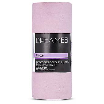 spanbed sheets Terry 90 x 200 cm cotton pink