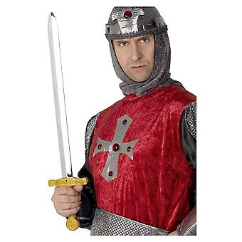Silver Gold Medieval Sword Fancy Dress Costume Accessory 25 Inches