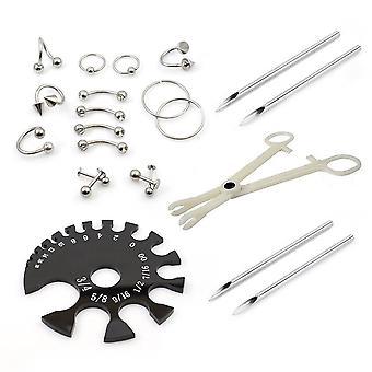 Piercing kit 22 stykker omfatter smykker kraftp nåle og måleværktøj