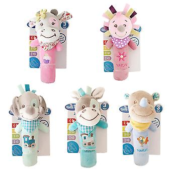 5pcs Cow Rhino Dog Bear Baby Hand Grab Plush Soft Bell Rattle Stick For Infant 0-1