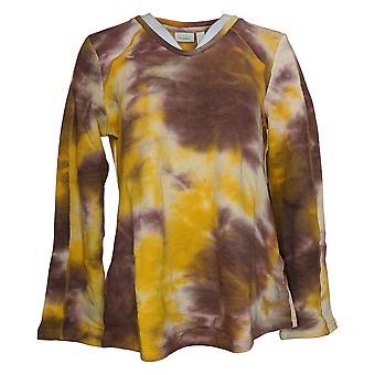 LOGO Lounge by Lori Goldstein Women's Sweater Reg Tie-Dyed Gold A375029