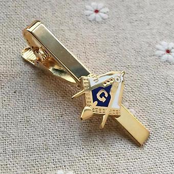 Square and compass masonic tie clip