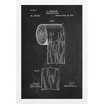 JUNIQE Print - Toilet Paper - Retro Poster in Black & White