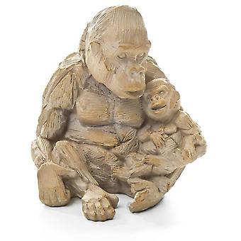 Gorila y bebé efecto madera a la deriva resina ornamento animal