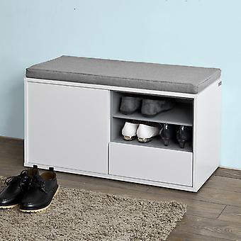 SoBuy FSR37-W, banc de rangement de chaussures avec coussin de siège amovible