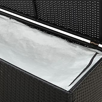 vidaXL Tuinbox Poly Rotan 200x50x60 cm Zwart