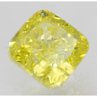 Cert 0.72 Carat Canary Yellow VVS1 Cushion Enhanced Natural Diamond 4.71x4.53mm