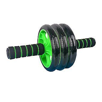 フィットネスのためのヨガマットと車輪の運動Abローラーの無スリップスポンジハンドル車輪腹部ローラーホイールの訓練用具(緑)