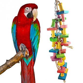 Parrot Bite Toy Houten Grinder Toy Stand Birdcage Hangende Vogel Speelgoed