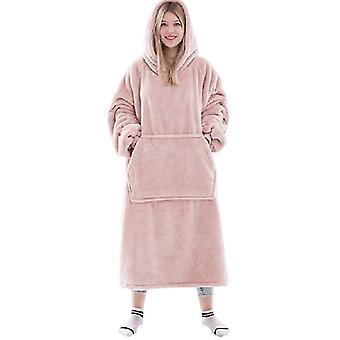 Uuden tyylin flanelli koralli sametti paksu lämmin pyjama syksy ja talvi hupullinen (PINK)