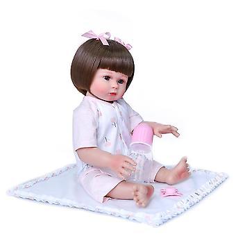 47Cm لينة سيليكون دمية تولد من جديد دمية طفل كامل الجسم حمام لعبة الشعر القصير دمية فتاة جميلة دمية