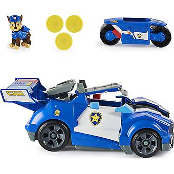 Paw Patrol Chase's 2-in-1 Transforming Movie City Cruiser Toy Car with Motorcycle, Lights and Sounds