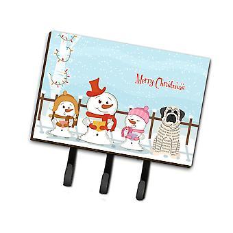 Caroline'S Treasures Christmas Carolers Merry Mastiff Brindle White Leash Or Key Holder Bb2347Th68, Triple