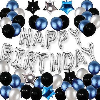 Geburtstagsdeko Blau Schwarz und Silber Latex Luftballons Silber Happy Birthday Girlande Banner
