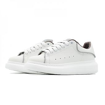 Womens Fashion Oversized Sneakers White Pu Leather Platform Running Sports Shoes For Women Lace Up Casual Walking Shoes