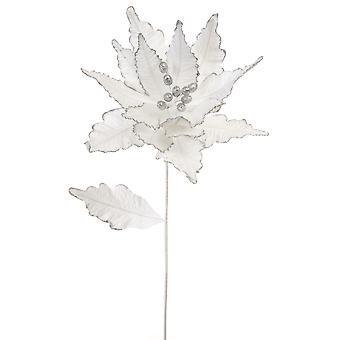 57cm Vit Sammet och Glitter Poinsettia Stem för floristry hantverk