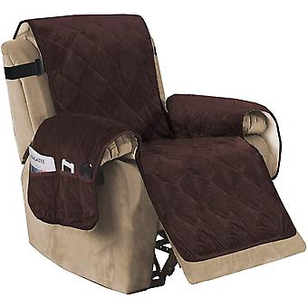 Vilstol soffa slipcover slip resistant sammet vilstol lock möbelskydd med elastiska remmar, brun