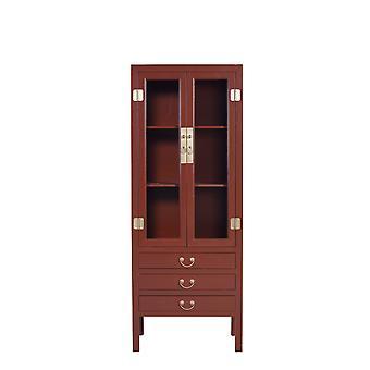 Hieno aasialainen asuva kiinalainen kirjahylly lasiovikaappi Scarlet Rouge W70xD40xH182cm - Orientique Collection