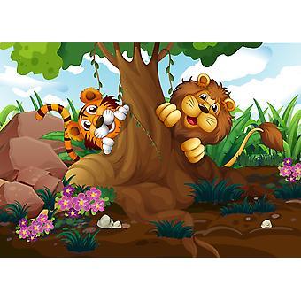 Tapetmaleri Tiger og løve som leker i skogen