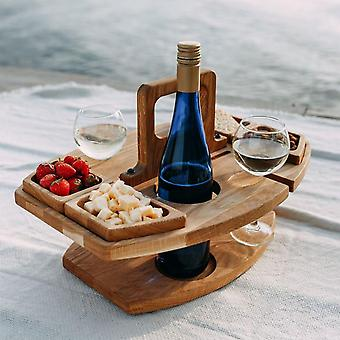 Estante de vino al aire libre desmontable Mesa portátil y silla Soporte colgante Mesa de madera de fruta Vintage