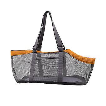Orange gray breathable pet handbag panorama cat carrier net bag foldable zf1275