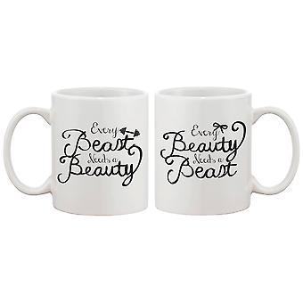 Cada belleza necesita un romántico bestia juego tazas café - perfecto aniversario y día de San Valentín de regalo para parejas