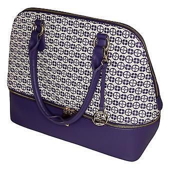 إيمان العالمية شيك المرأة حقيبة يد L ريج قبة Satchel ث / حالة الأرجواني 746092