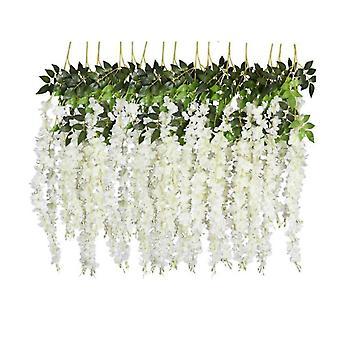 6 Pack 3.75 fot bit konstgjord falsk wisteria vine ratta hängande garland