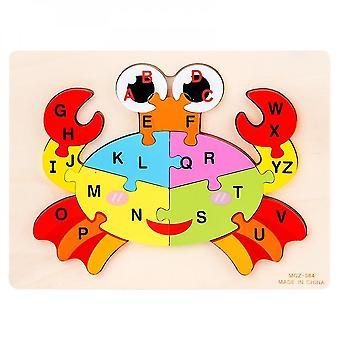 Venalisa Wooden 3d Jigsaw Puzzles Anglais Alphabet Animal Cycle Bébé Jouets d'apprentissage cognitif Nouveau jeu éducatif pour enfants - (crabe)