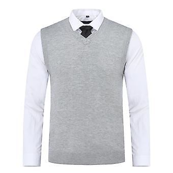 Yunyun Men's Slim Fit Solid V-neck Sweater Vest Pullover