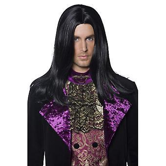 Vampyr gotiske mænds paryk count sort Halloween