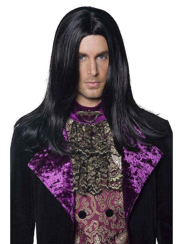 Vampyr gotiske menns parykk teller svart Halloween