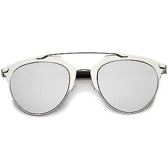 Moda moderna armação metálica cor espelhada lente óculos de aviador Pantos