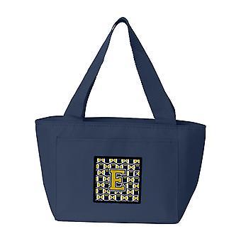 Carolines tesoros CJ1074-ENA-8808 letra E fútbol azul y oro bolsa de almuerzo