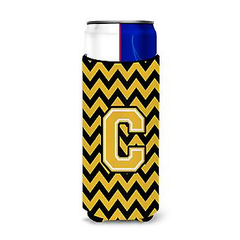 Letter C Chevron Black and Gold Ultra Beverage Insulators for slim cans