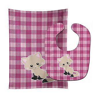 Carolines Treasures  BB6886STBU Kitten Cat on Pink Baby Bib & Burp Cloth