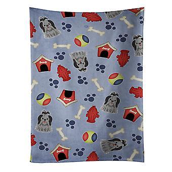 Dog House kolekcja Shih Tzu czarny srebrny kuchnia ręcznik