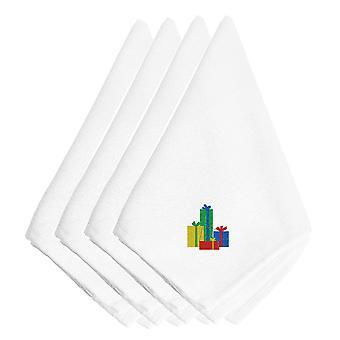 Regalos de Navidad servilletas bordado juego de 4