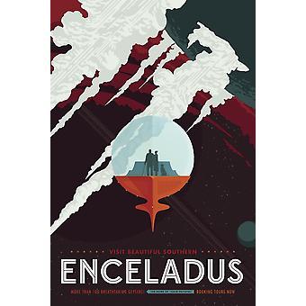 レトロな空間旅行エンケラドスの氷のようなジェット機のポスターとカッシーニのミッション土星ポスター印刷 Stocktrek 画像
