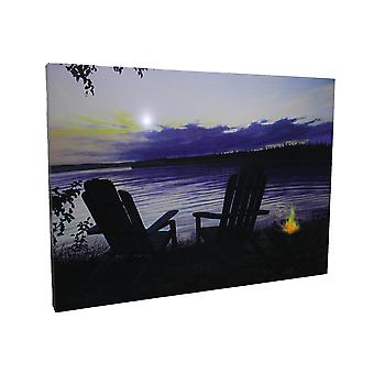 Lighted Canvas Otter Way Fish Shore by Cherie Serrano