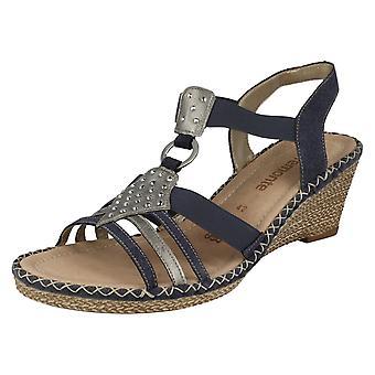 Dames Remonte elastisch Diamante Detail wig sandaal D6768