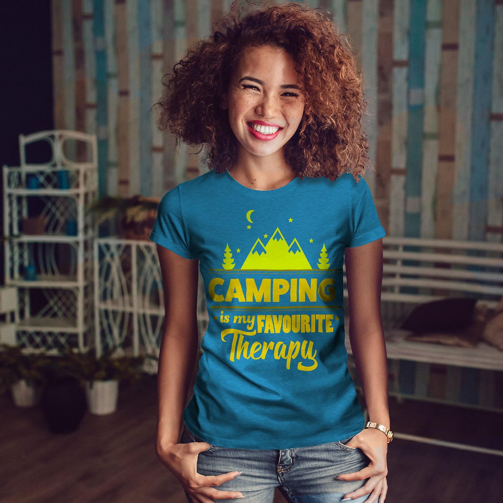Camping la thérapie Royal BlueT-chemise femme | Wellcoda