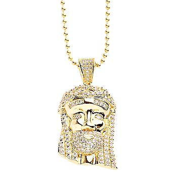 Iced Out Bling Micro Pave Kette - MINI JESUS II gold